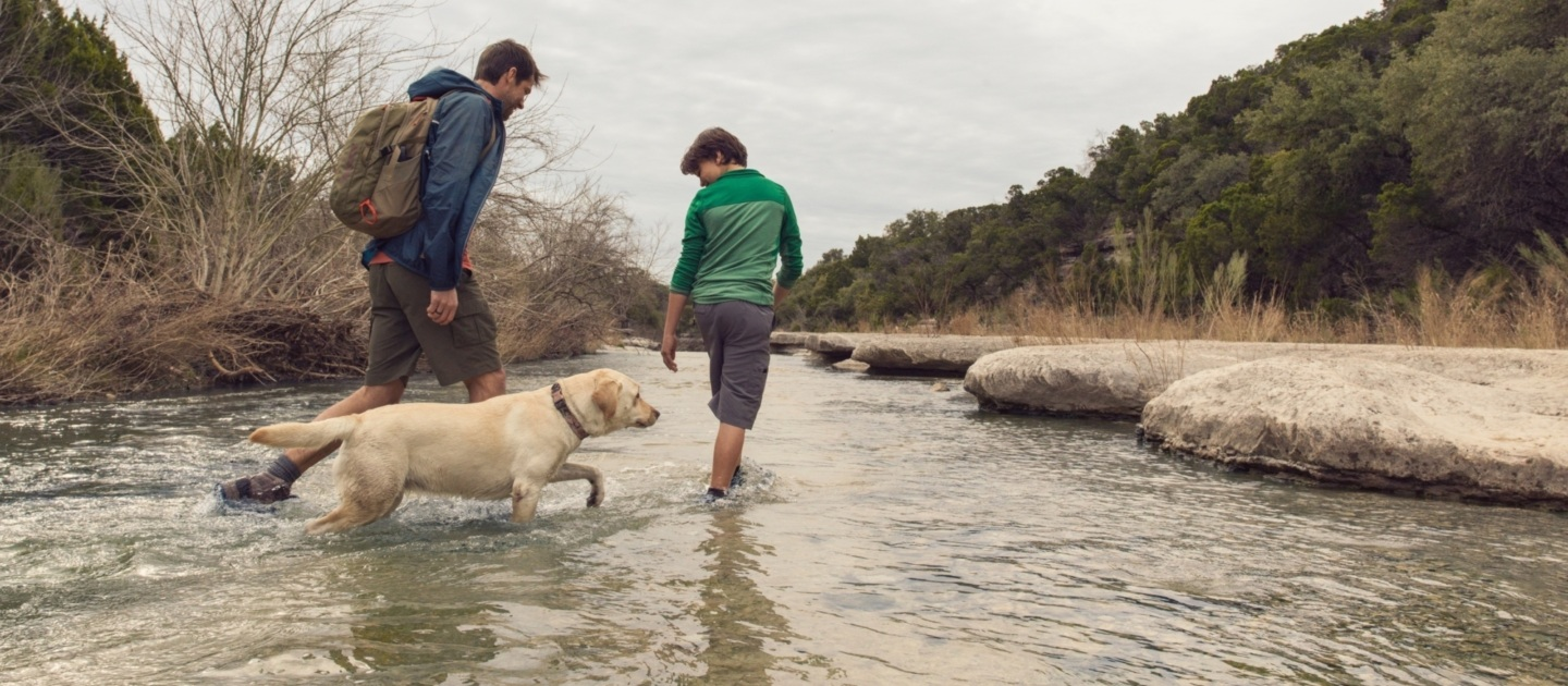 Father and son with dog in a creek