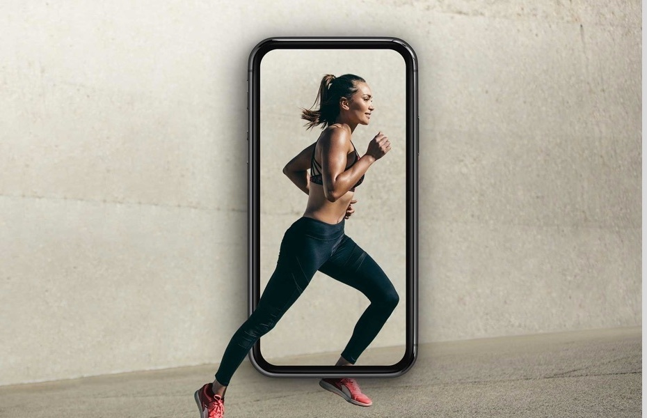 woman running with a phone frame