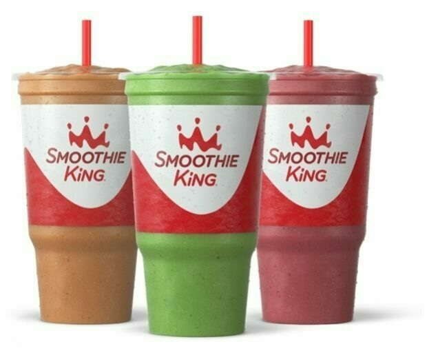 three 32 ounce smoothies lined up