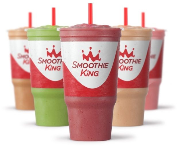 five 32 ounce smoothies lined up