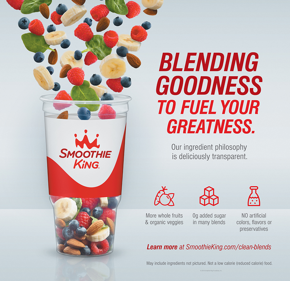 Smoothie King cup filled with fruits and nuts